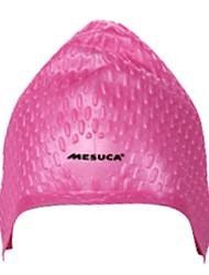 MESUCA® Adult Unisex Silicone Anti Water & Anti Wear Swim Cap Dark Purple Pink Light Blue