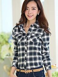 Women's Fashion Wild Slim Sanding Check Long Sleeve Shirt(Button Color Random)