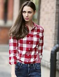 Veri Gude® Women's Button-Down Collar Long Sleeve Plaid Autumn Shirt