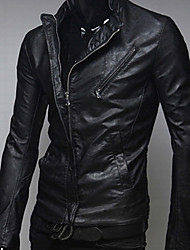 GEZI Men's Casual Zipper Fitted Faux Leather Biker Jacket