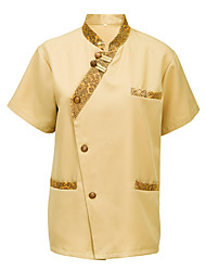 Housekeeping Uniform Standing Single-Breasted Buttons Twill Scrubs