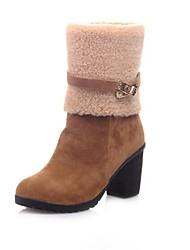 Women's Shoes Round Toe Chunky Heel Suede Ankle Boots with Zipper More Color available