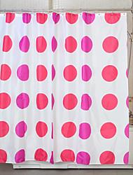 círculo rojo de ducha de poliéster cortina