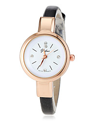 Women's Gold Case Slim PU Band Quartz Wrist Watch (Assorted Colors) Cool Watches Unique Watches