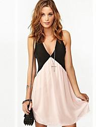 vestito di colore di contrasto chiffon v collo delle donne