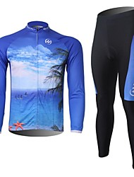 XINTOWN Men's Sea Quick Dry Moisture Absorption Long Sleeve Cycling Suit—Blue