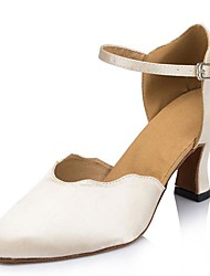 Women's Satin Upper Sparkling Glitter Ballroom Latin Dance Shoes Sandals