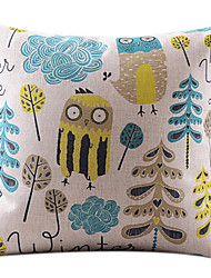 Cartoon Confused Owl Cotton/Linen Decorative Pillow Cover