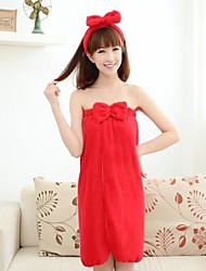 Women's Fashion Red Bowknot Bath Towel Lounge Wear