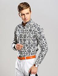 Men's Porcelain Printing Business Long Sleeved Shirt