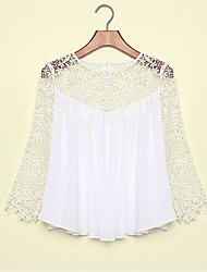 Women's White Blouse/Shirt , Sexy/Bodycon/Casual/Work Long Sleeve