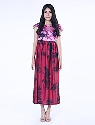 lavage de peinture de fleurs de papier de femmes haoduoyi® manches courtes robe