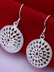 Vivid Women's Circle Silver Plate Earrings