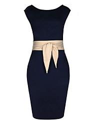Monta neue 2014 westlichen Stilen Mode ärmelloses Kleid Taille wurh bowknot