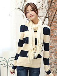 Women's Turtleneck Collar Stripe Knit Shirt Sweaters