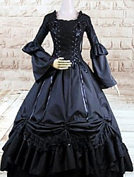 One-Piece/Dress Gothic Lolita Lolita Cosplay Lolita Dress Black Solid Long Sleeve Floor-length Dress For Women Cotton