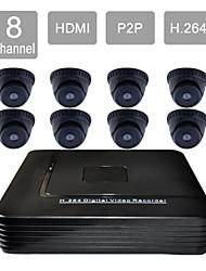 8-канальный HDMI видеонаблюдения DVR 8 крытый безопасности видение комплект камеры системы 835db08v
