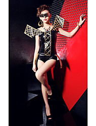 Clubwear Women's Sexy Mercerized Cotton And Gold Strap Jumpsuits