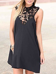 Women's Solid Black/White Dress , Sexy/Bodycon/Lace Crew Neck Sleeveless