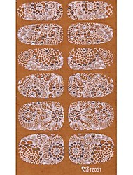 yemannvyou®2x14pcs verleihen 3D Diamant transparent weißen Spitzen Nagelkunst ultradünnen Aufklebern tz051