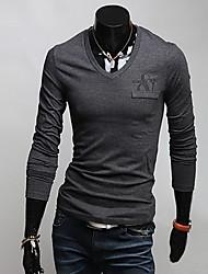 Men's Long Sleeve T-Shirt , Cotton Blend Casual/Work Pure