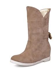 botas de los zapatos de nieve de las mujeres acuñan botas de tacón de ante mitad de la pantorrilla más colores disponibles