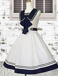 Sleeveless Knee-length White and Ink Blue Cotton Sailor Lolita Dress