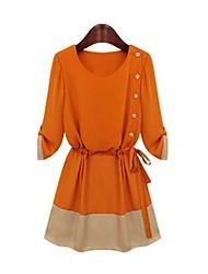 Women's Black/Orange Dress , Bodycon/Casual ¾ Sleeve