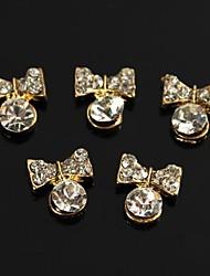 10pcs 3d strass accessoires pendants noeud papillon pour le bout des doigts nail art décoration