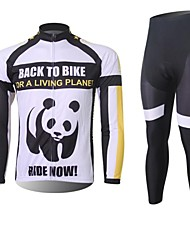 XINTOWN Men's Panda Quick Dry Moisture Absorption Long Sleeve Cycling Suit—White+Black