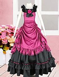 Andar de comprimento mangas de seda vermelho e preto vestido lolita gótica