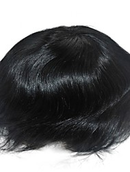 6 Inch Jet Black Hair System for Men Hairpiece Hair Replacement, Size Adjustable, Bleached Knots Front