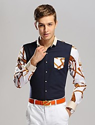 Men's Belt Printing Business Long Sleeved Shirt