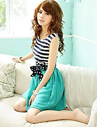 Women's Chiffon Stripe Sleeveless Dress