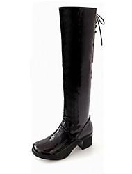 sapatos femininos da moda qq botas de couro salto robusto mais cores disponíveis