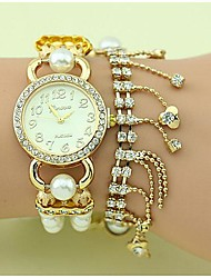 Women's Fashion Crystal Pearl Chain Bracelet Watch(Assorted Colors)