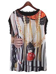 Mulheres Camiseta Casual Simples Verão,Estampado Decote Redondo Sem Manga Opaca
