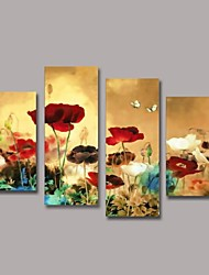 Hand Painted Flower Oil Painting with Stretched Frame Set of 4