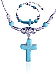 Lureme®Turkey Blue Tophus Cross Necklace and Bracelet Suit