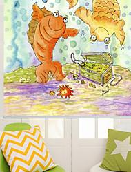 moderno stile di pittura a inchiostro cartone animato treature&pesce rullo ombra