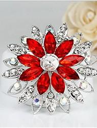 Women's Fashion All Match Flower Shape Silver Alloy Rhinestone Brooches