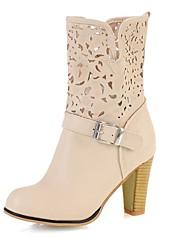 Damesschoenen - Formeel - Zwart / Wit - Blokhak - Modieuze laarzen - Laarzen - Imitatieleer