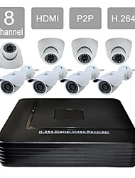 8 Channel HDMI 1TB HDD CCTV DVR 8 Outdoor / Indoor Vision Security Camera System Kit F276+632CAW08VG
