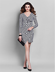 Formal Evening Dress - Multi-color Plus Sizes / Petite Sheath/Column V-neck Short/Mini Jersey