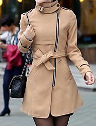 EGG Women's Midi Pattern Bodycon Elegant Overcoat