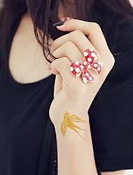 2Pcs Swallow Gold Glitter Tattoo Stickers Temporary Tattoos