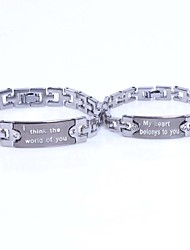 europese engels brief titanium staal tennis armband (zilver) (2 st)