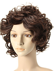 Capless Short Curly Brown Wigs Side Bang