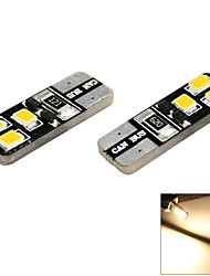 t10 1s 6x2835 SMD LED 60lm 3000k chaude ampoule de position latéral de dôme lumière blanche pour la voiture (12V DC, 2-pack)