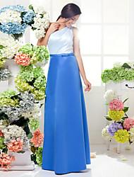 Floor-length Satin Bridesmaid Dress - Multi-color Plus Sizes / Petite A-line One Shoulder